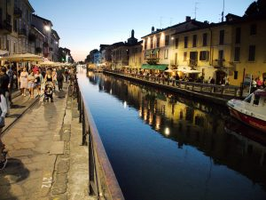 Canal area in Milan, Italy